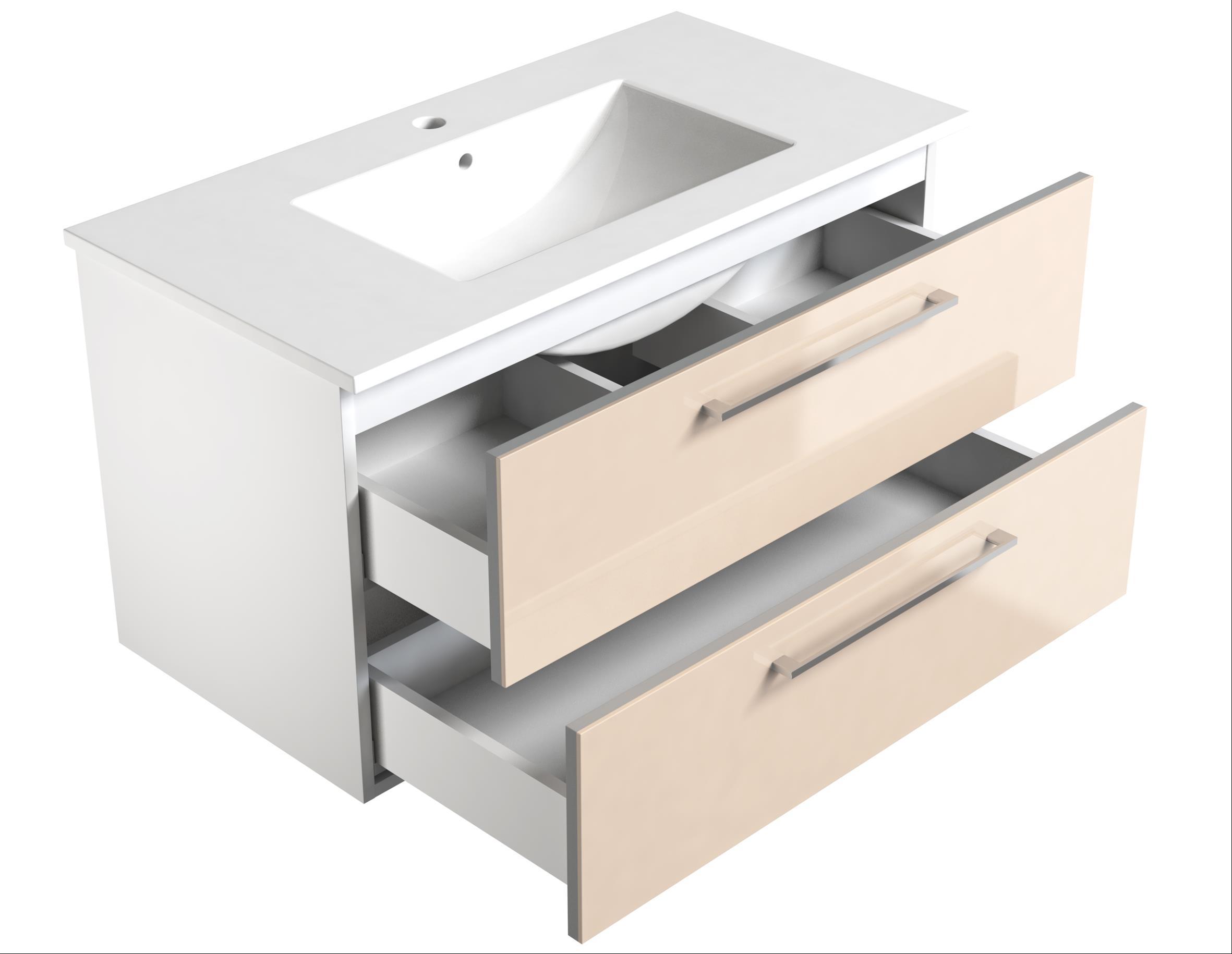 Bad Waschtischunterschrank mit Keramik-Waschtisch Allegro 91 Beige glänzend Bild 3