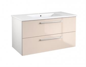 Bad Waschtischunterschrank mit Keramik-Waschtisch Allegro 91 Beige glänzend Bild 1