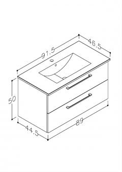 Bad Waschtischunterschrank mit Keramik-Waschtisch Allegro 91 Beige glänzend Bild 2