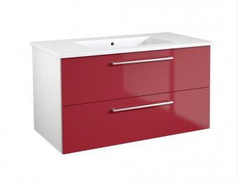 Bad Waschtischunterschrank mit Keramik-Waschtisch Allegro 91 Rot glänzend Bild 1