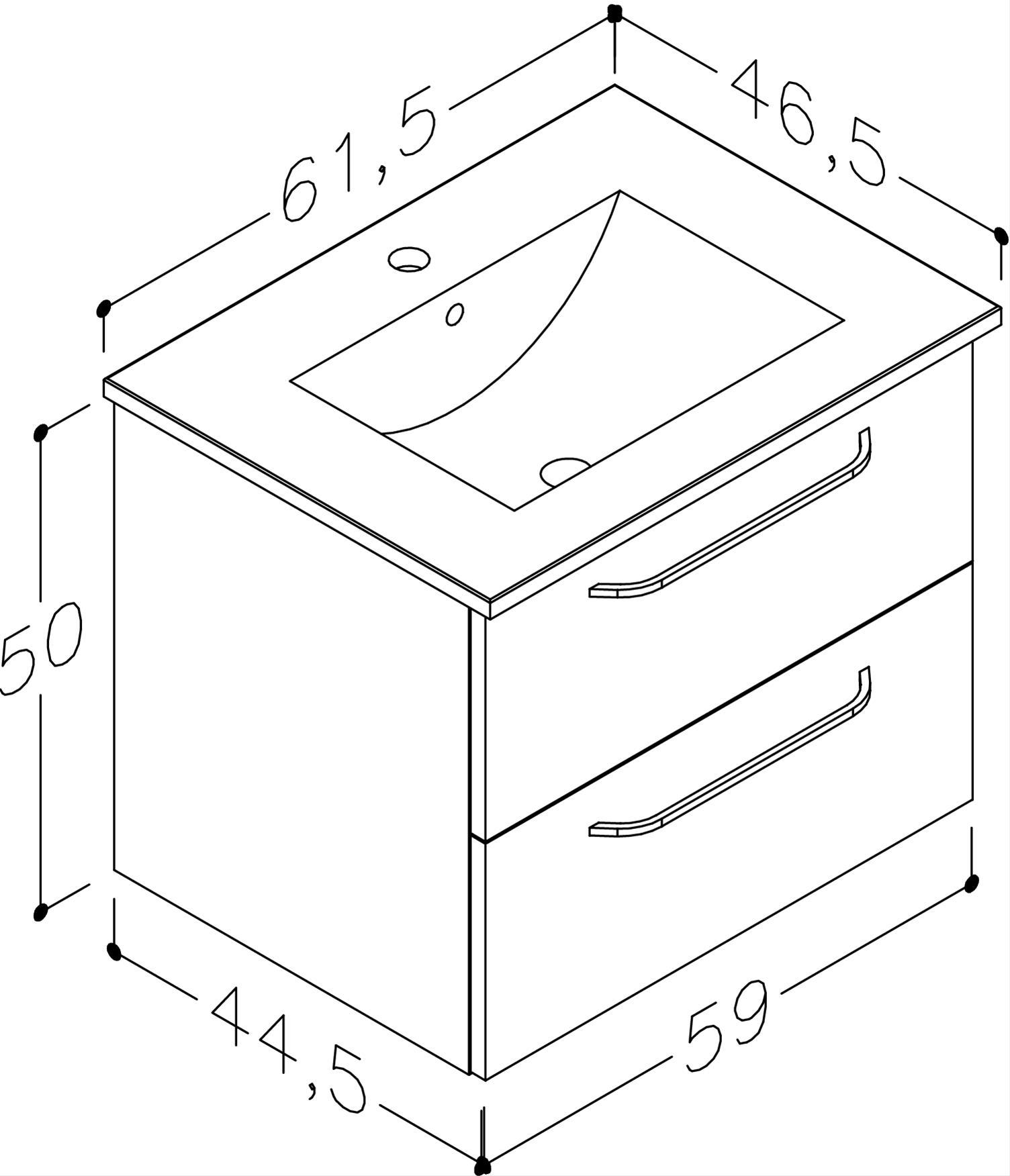 Bad Waschtischunterschrank mit Keramik-Waschtisch Luna 61 Weiß glänzend Bild 2
