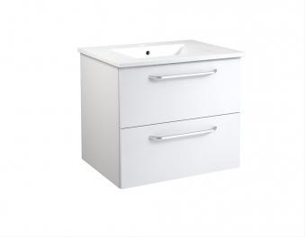 Bad Waschtischunterschrank mit Keramik-Waschtisch Luna 61 Weiß glänzend Bild 1
