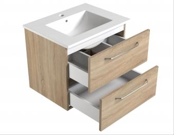 Bad Waschtischunterschrank mit Keramik-Waschtisch Luna 61 Weiß glänzend Bild 3