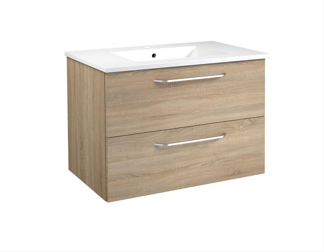 Bad Waschtischunterschrank mit Keramik-Waschtisch Luna 76 Eiche bardolino Bild 1