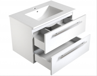 Bad Waschtischunterschrank mit Keramik-Waschtisch Luna 76 Eiche bardolino Bild 3