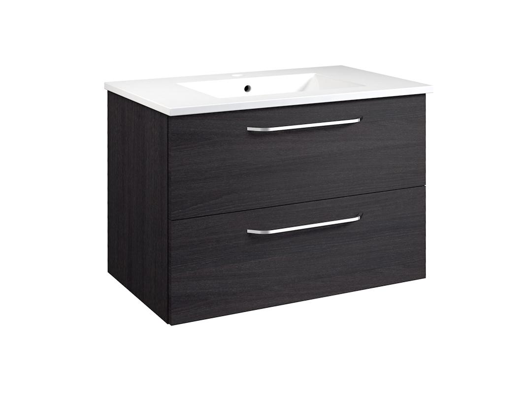 Bad Waschtischunterschrank mit Keramik-Waschtisch Luna 76 Eiche schwarz Bild 1