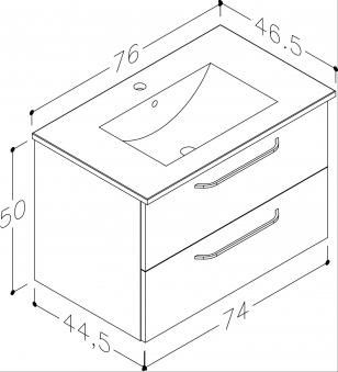 Bad Waschtischunterschrank mit Keramik-Waschtisch Luna 76 Eiche schwarz Bild 2