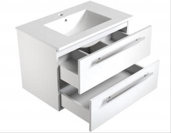 Bad Waschtischunterschrank mit Keramik-Waschtisch Luna 76 Eiche schwarz Bild 3