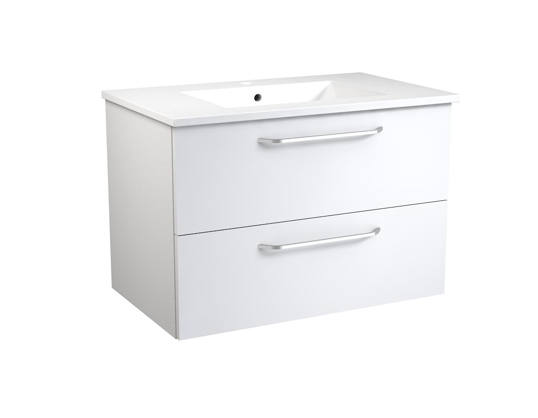 Bad Waschtischunterschrank mit Keramik-Waschtisch Luna 76 Weiß glänzend Bild 1
