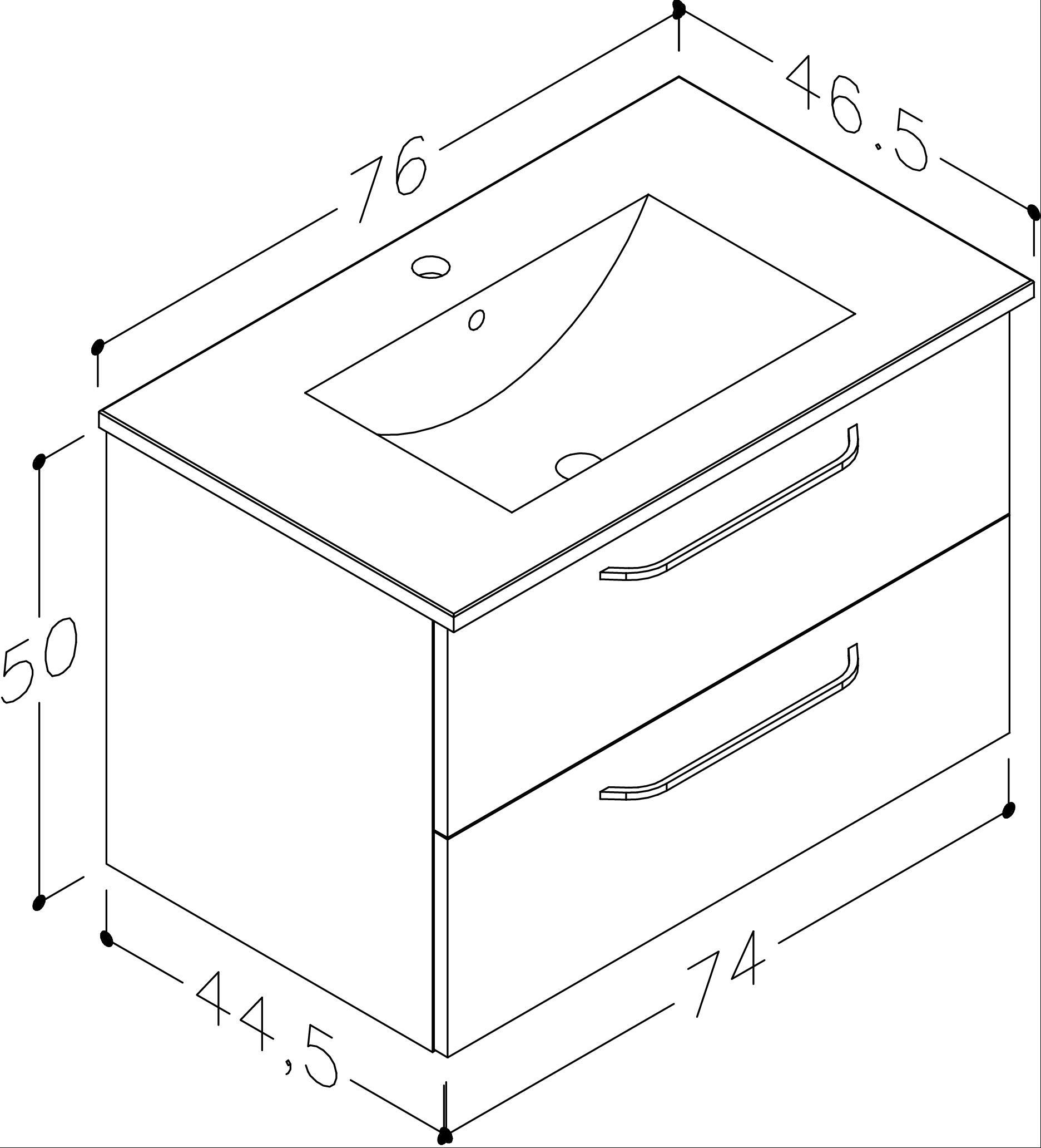 Bad Waschtischunterschrank mit Keramik-Waschtisch Luna 76 Weiß glänzend Bild 2