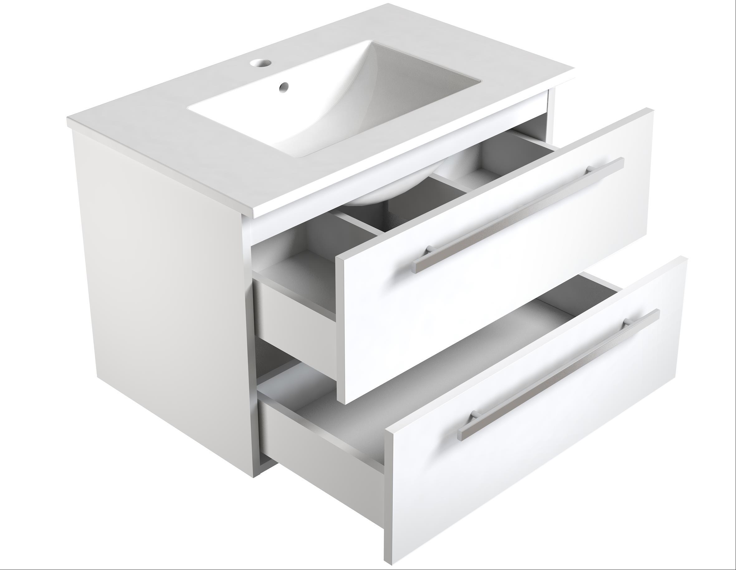 Bad Waschtischunterschrank mit Keramik-Waschtisch Luna 76 Weiß glänzend Bild 3