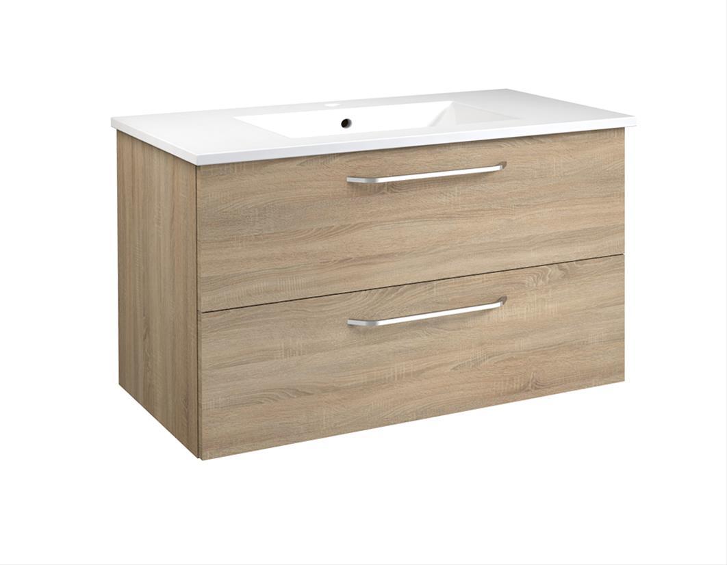 Bad Waschtischunterschrank mit Keramik-Waschtisch Luna 91 Eiche bardolino Bild 1