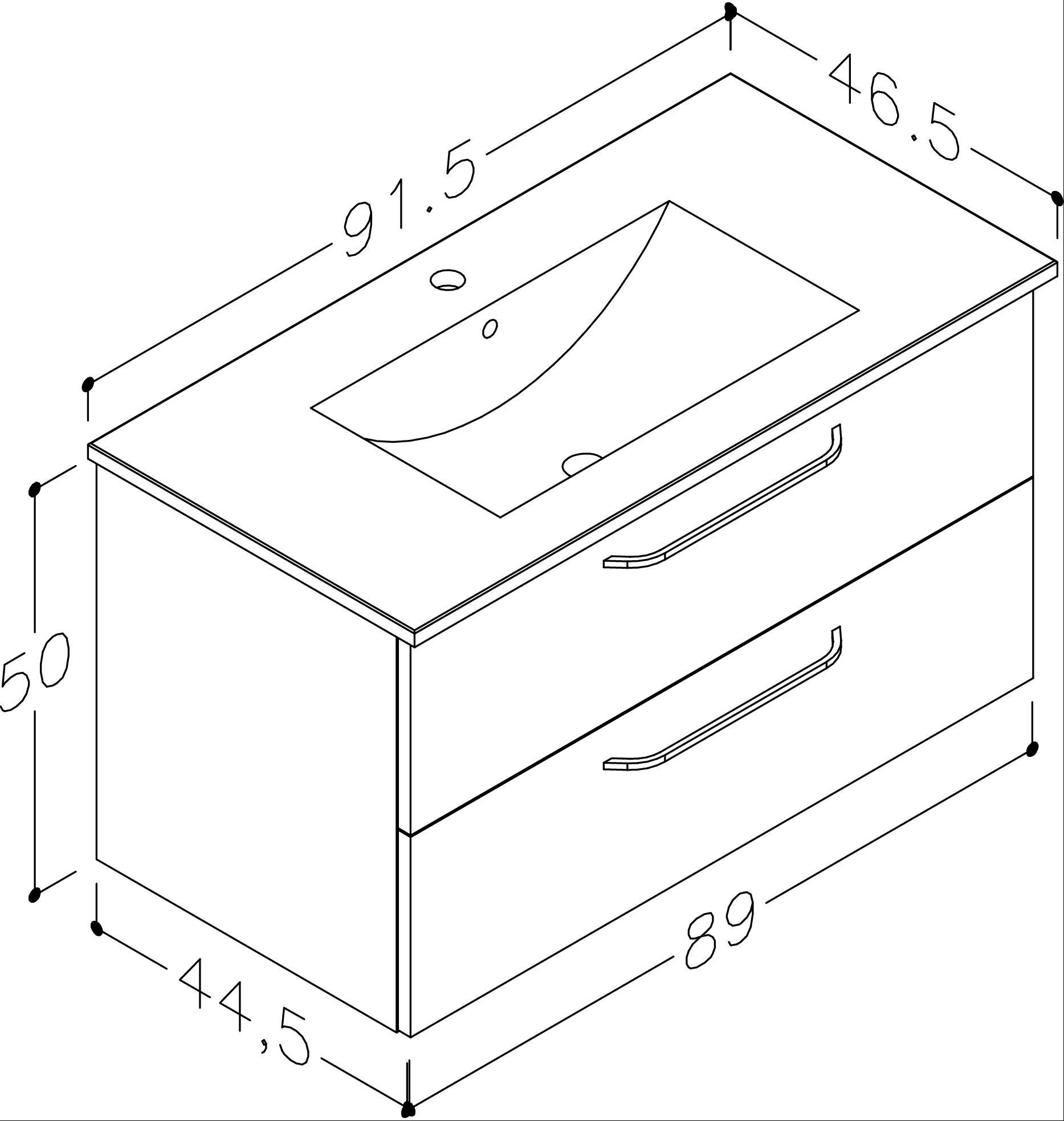 Bad Waschtischunterschrank mit Keramik-Waschtisch Luna 91 Eiche bardolino Bild 2
