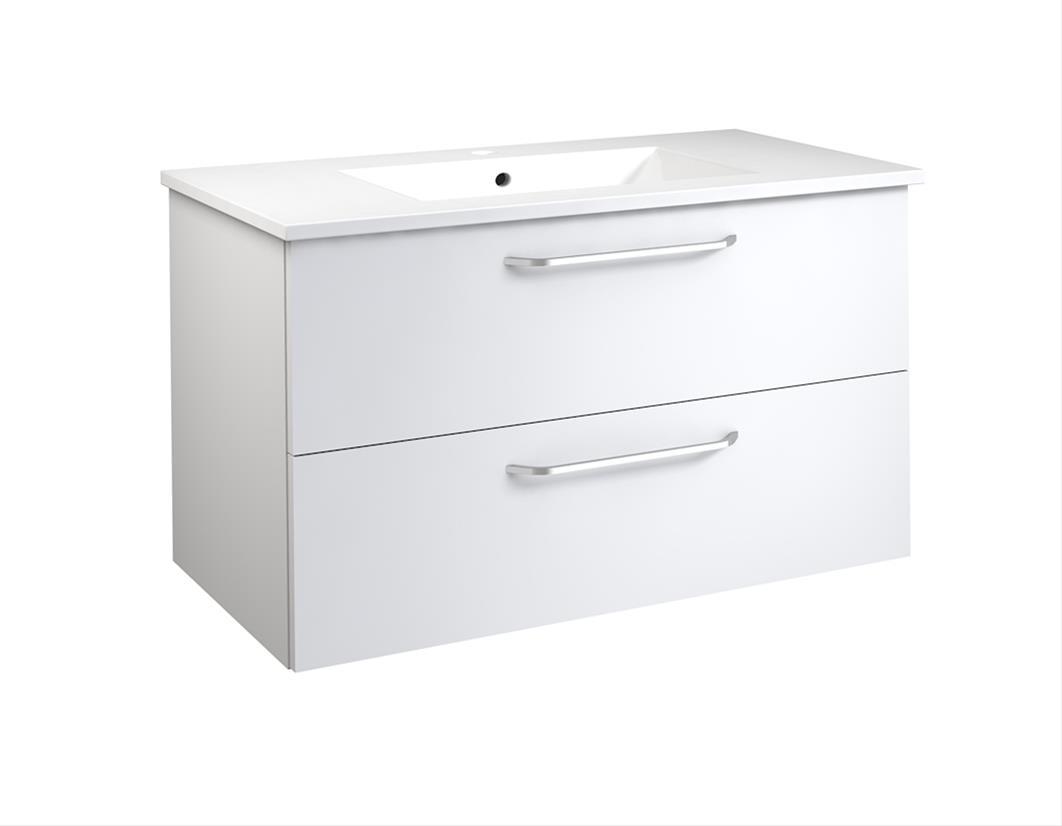 Bad Waschtischunterschrank mit Keramik-Waschtisch Luna 91 Weiß glänzend Bild 1