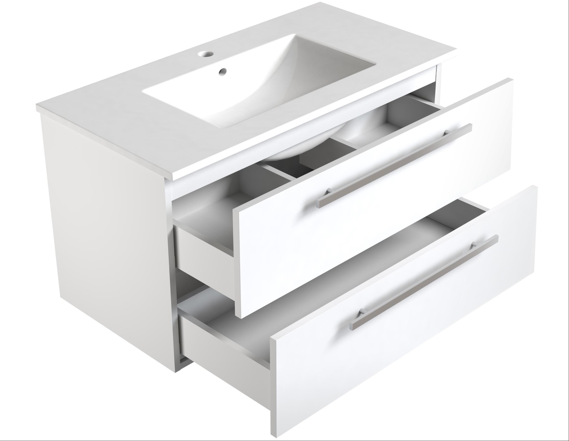 Bad Waschtischunterschrank mit Keramik-Waschtisch Luna 91 Weiß glänzend Bild 3
