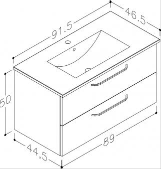 Bad Waschtischunterschrank mit Keramik-Waschtisch Luna 91 Weiß glänzend Bild 2