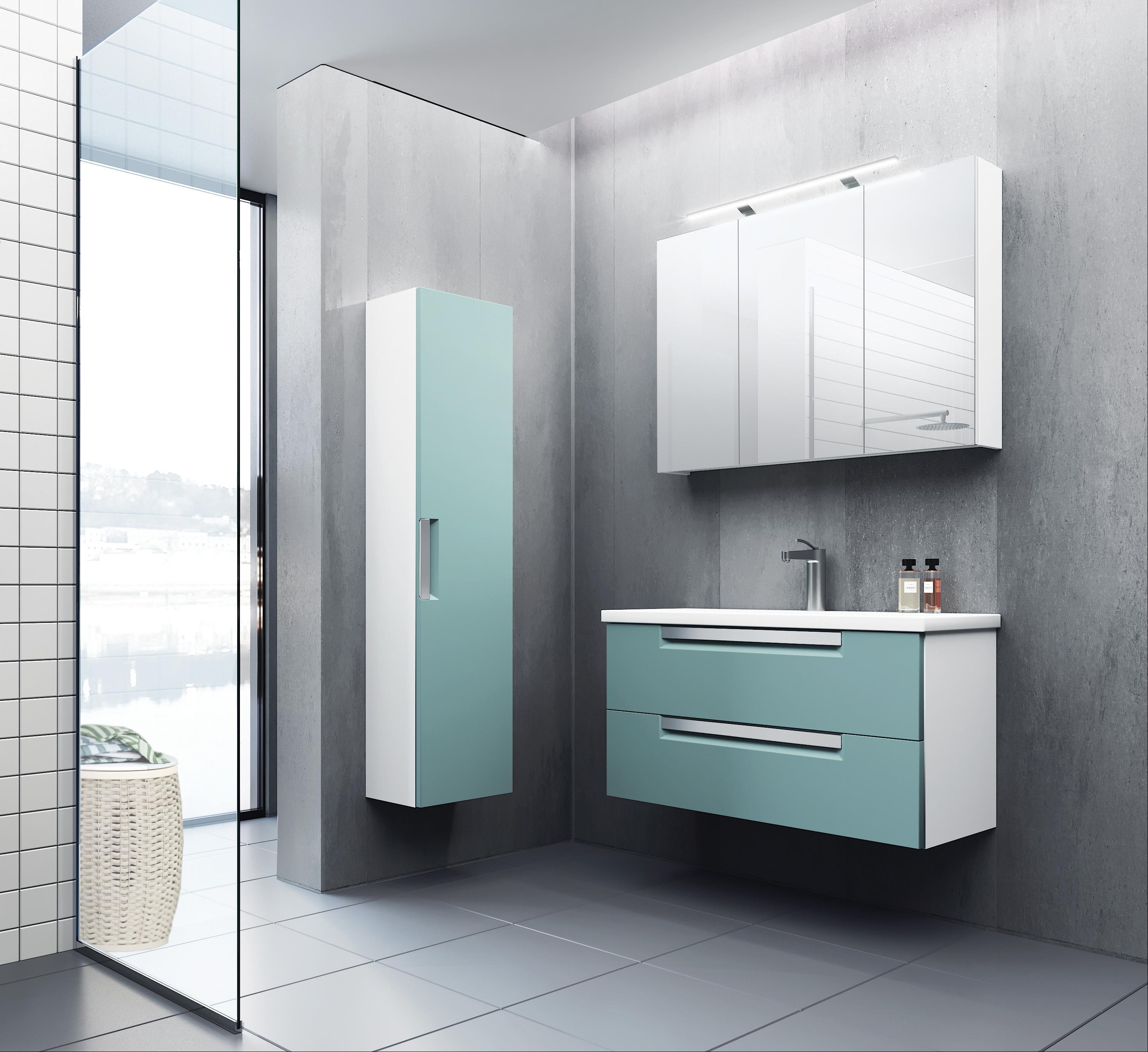 Bad Waschtischunterschrank mit Keramik-Waschtisch Milano 100 Aquamarin/weiß matt Bild 4