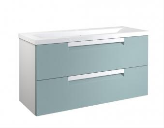 Bad Waschtischunterschrank mit Keramik-Waschtisch Milano 100 Aquamarin/weiß matt Bild 1