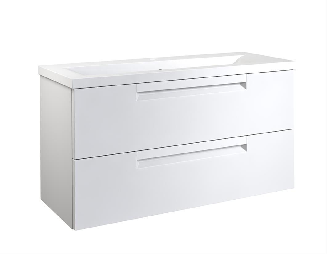 Bad Waschtischunterschrank mit Keramik-Waschtisch Milano 100 Weiß matt Bild 1