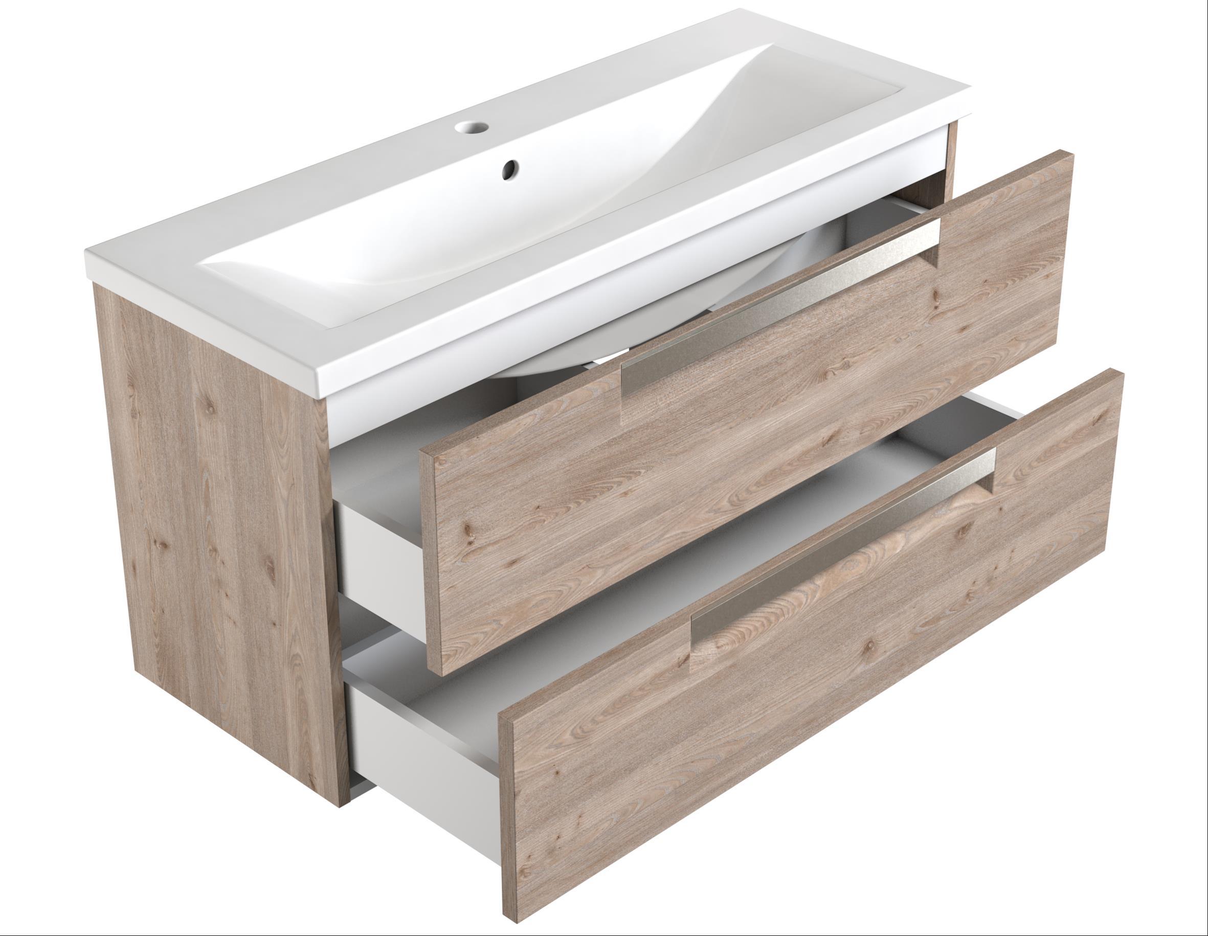 Bad Waschtischunterschrank mit Keramik-Waschtisch Milano 100 Weiß matt Bild 2