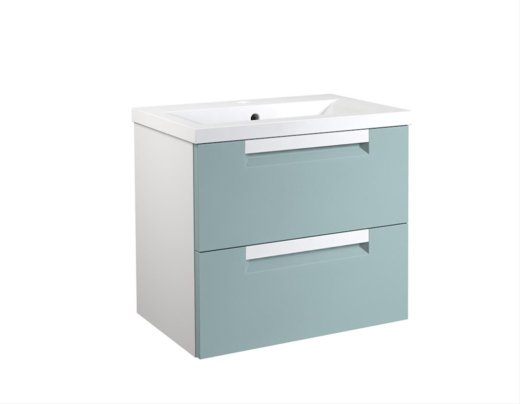 Bad Waschtischunterschrank mit Keramik-Waschtisch Milano 60 Aquamarin/weiß matt Bild 1