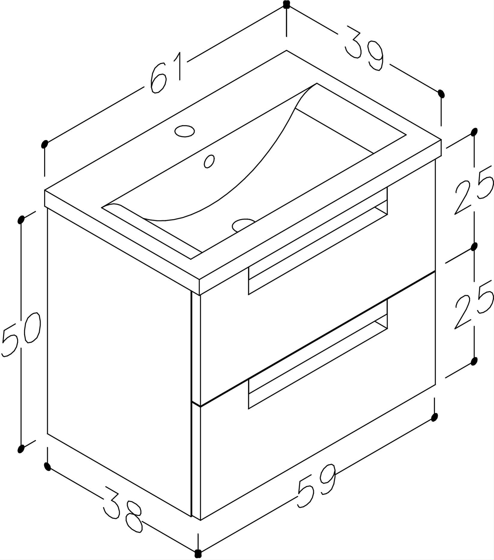 Bad Waschtischunterschrank mit Keramik-Waschtisch Milano 60 Aquamarin/weiß matt Bild 3