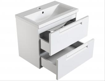 Bad Waschtischunterschrank mit Keramik-Waschtisch Milano 60 Aquamarin/weiß matt Bild 2
