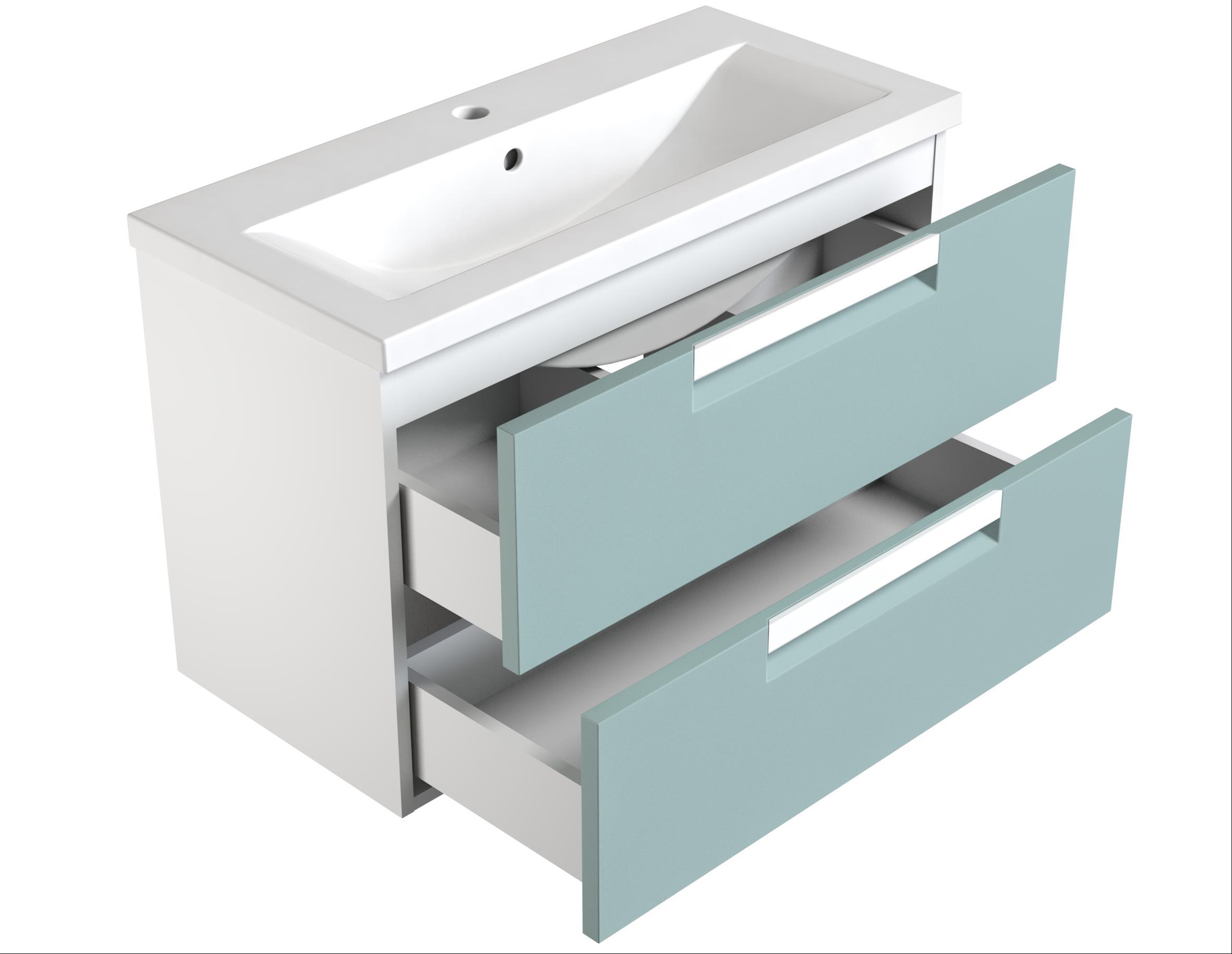 Bad Waschtischunterschrank mit Keramik-Waschtisch Milano 80 Aquamarin/weiß matt Bild 2