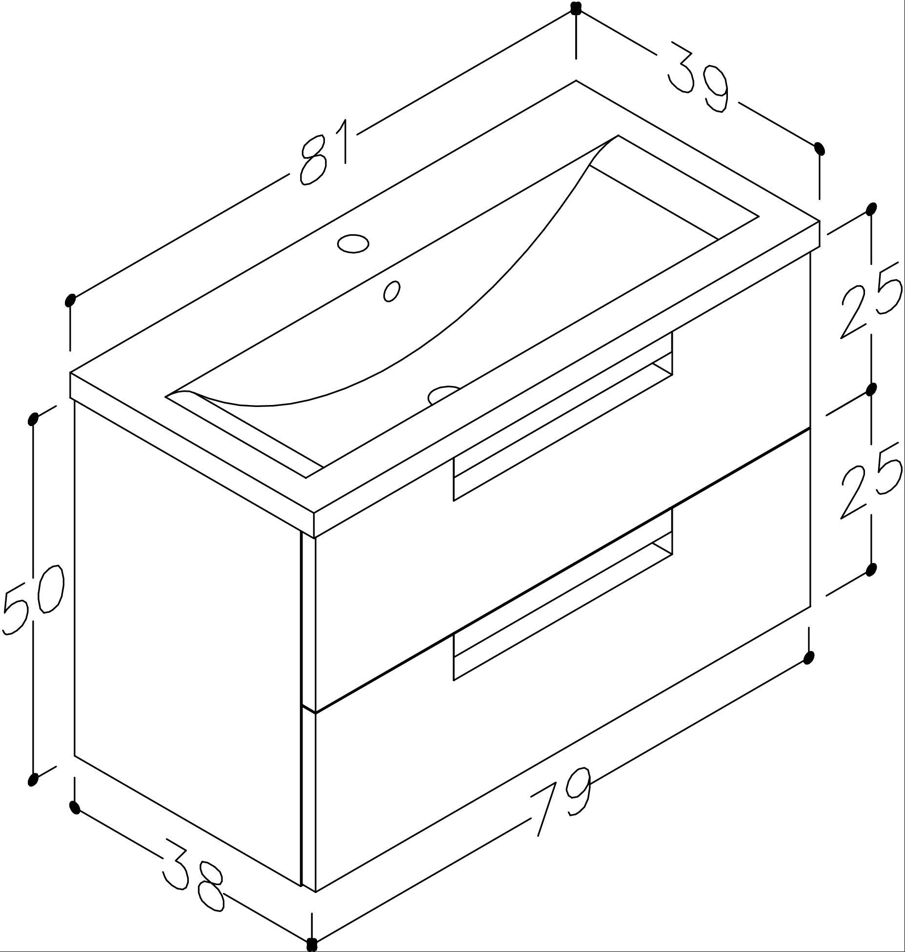 Bad Waschtischunterschrank mit Keramik-Waschtisch Milano 80 Aquamarin/weiß matt Bild 3