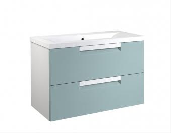Bad Waschtischunterschrank mit Keramik-Waschtisch Milano 80 Aquamarin/weiß matt Bild 1