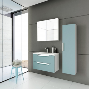 Bad Waschtischunterschrank mit Keramik-Waschtisch Milano 80 Aquamarin/weiß matt Bild 4