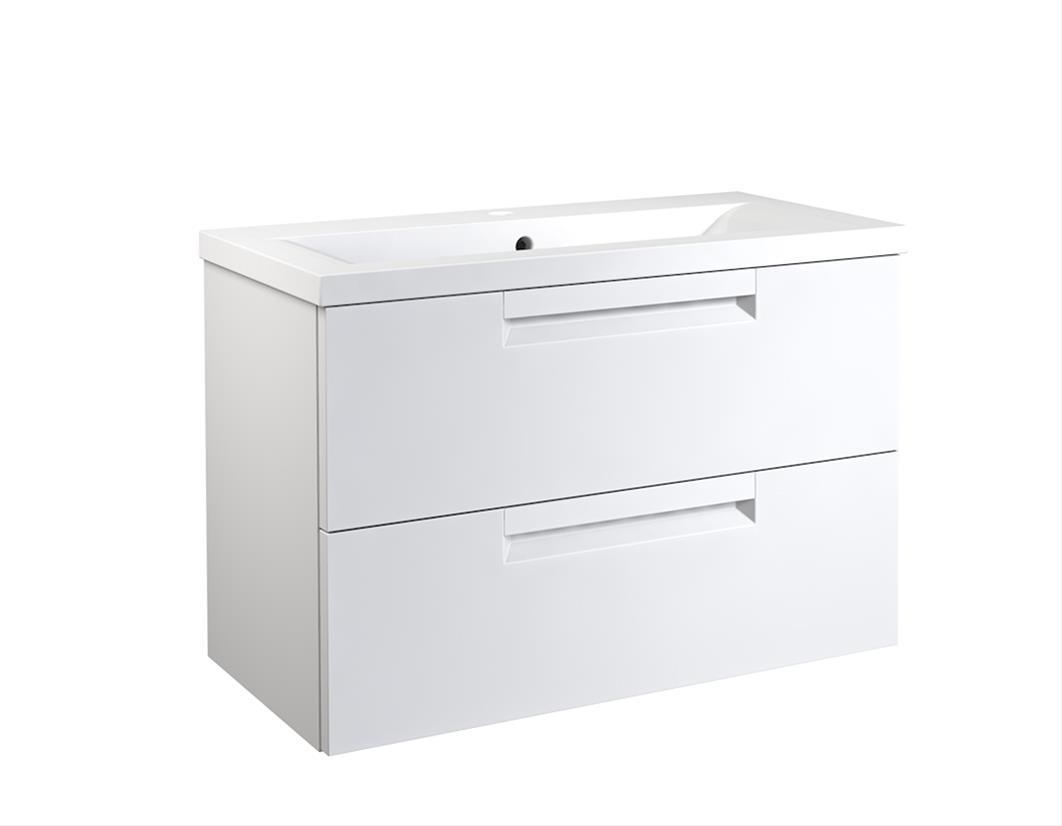 Bad Waschtischunterschrank mit Keramik-Waschtisch Milano 80 Weiß matt Bild 1