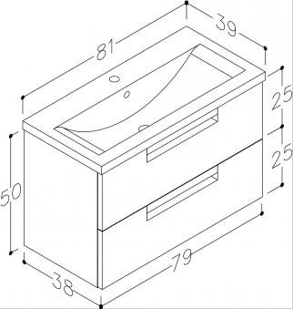 Bad Waschtischunterschrank mit Keramik-Waschtisch Milano 80 Weiß matt Bild 3