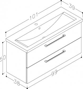 Bad Waschtischunterschrank mit Keramik-Waschtisch Scandic 100 Esche Bild 2