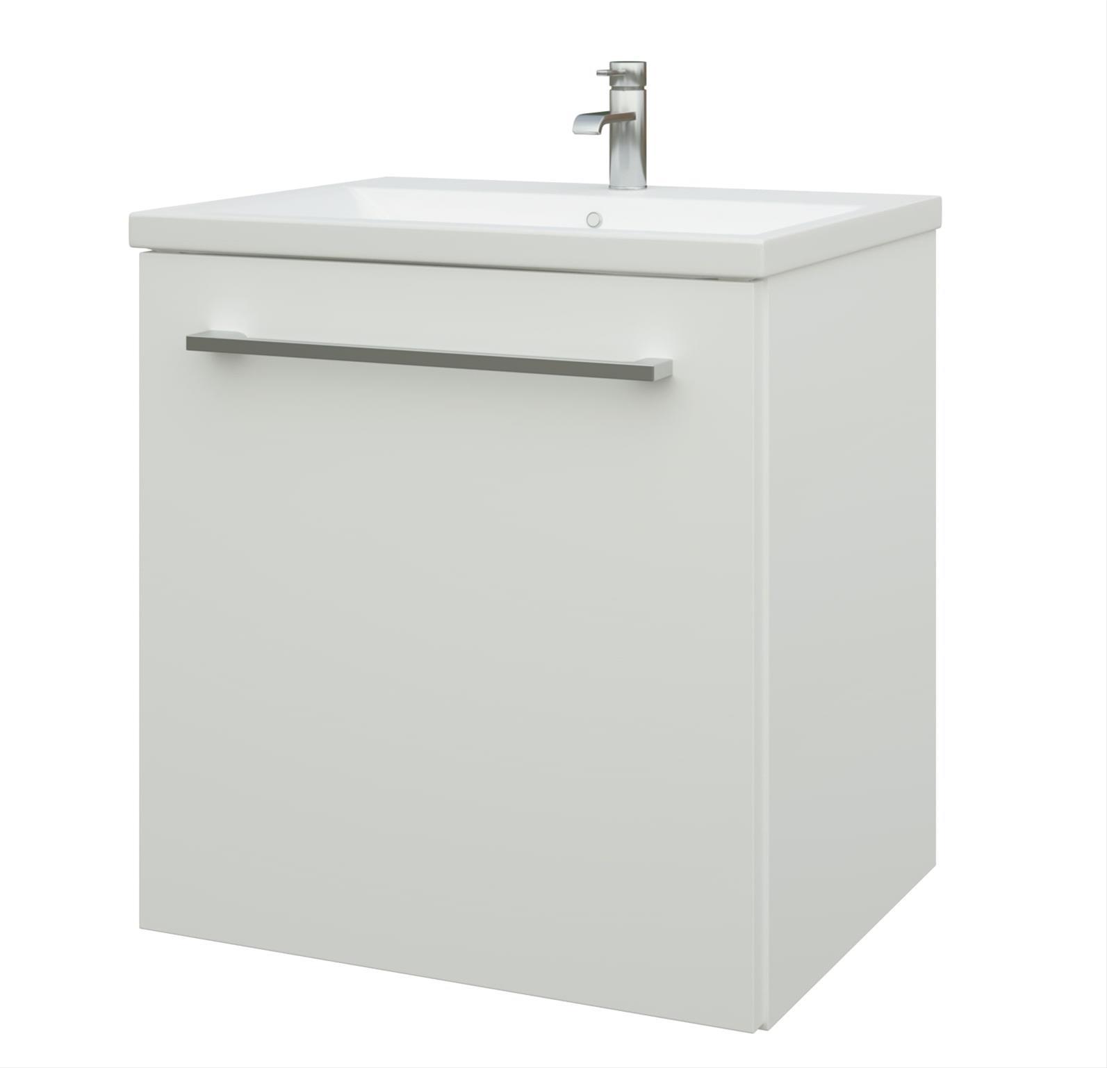 Bad Waschtischunterschrank mit Keramik-Waschtisch Scandic 50 Weiß glänzend Bild 1