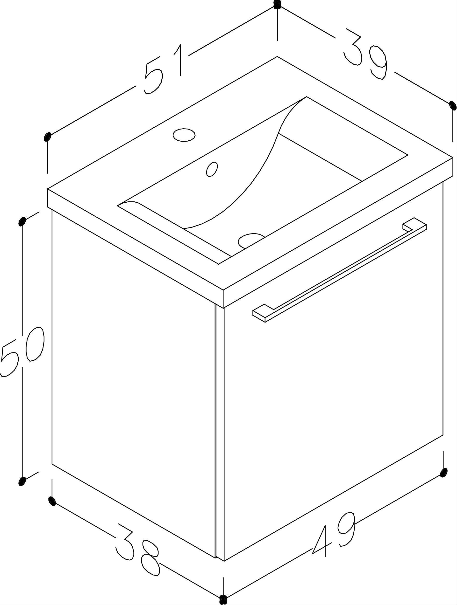 Bad Waschtischunterschrank mit Keramik-Waschtisch Scandic 50 Weiß glänzend Bild 2