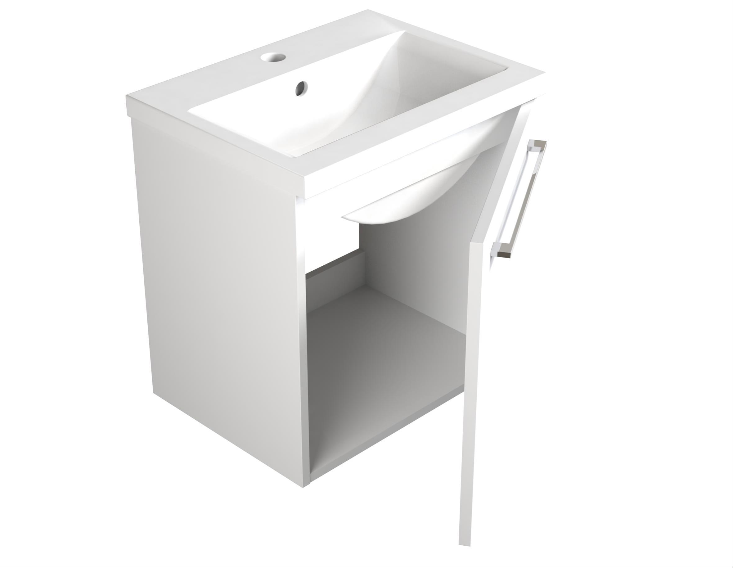 Bad Waschtischunterschrank mit Keramik-Waschtisch Scandic 50 Weiß glänzend Bild 3