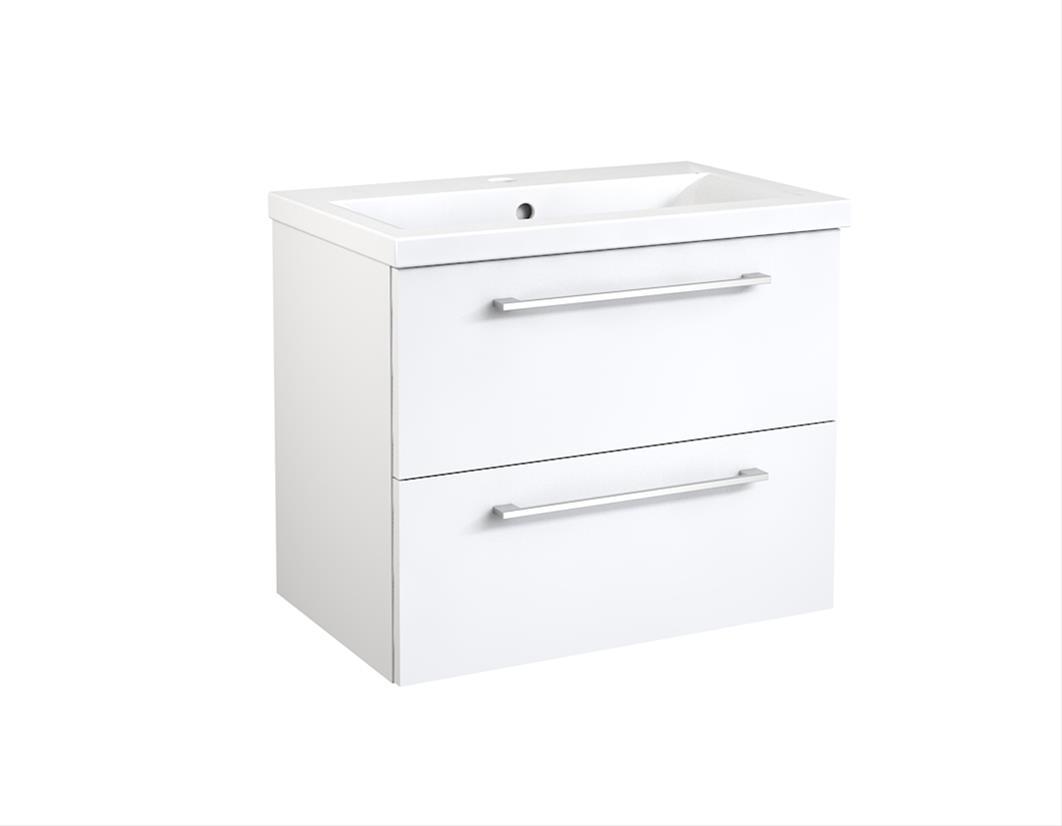 Bad Waschtischunterschrank mit Keramik-Waschtisch Scandic 60 Weiß glänzend Bild 1