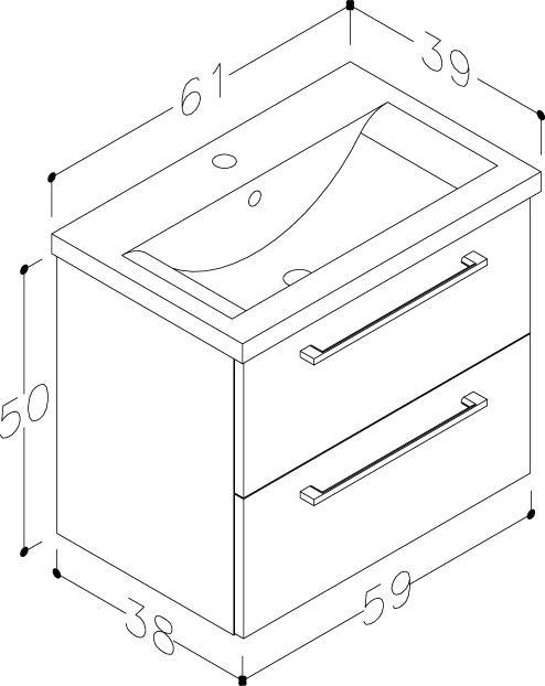 Bad Waschtischunterschrank mit Keramik-Waschtisch Scandic 60 Weiß glänzend Bild 2