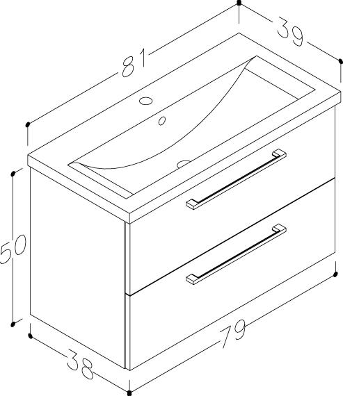 Bad Waschtischunterschrank mit Keramik-Waschtisch Scandic 80 Eiche schwarz Bild 2