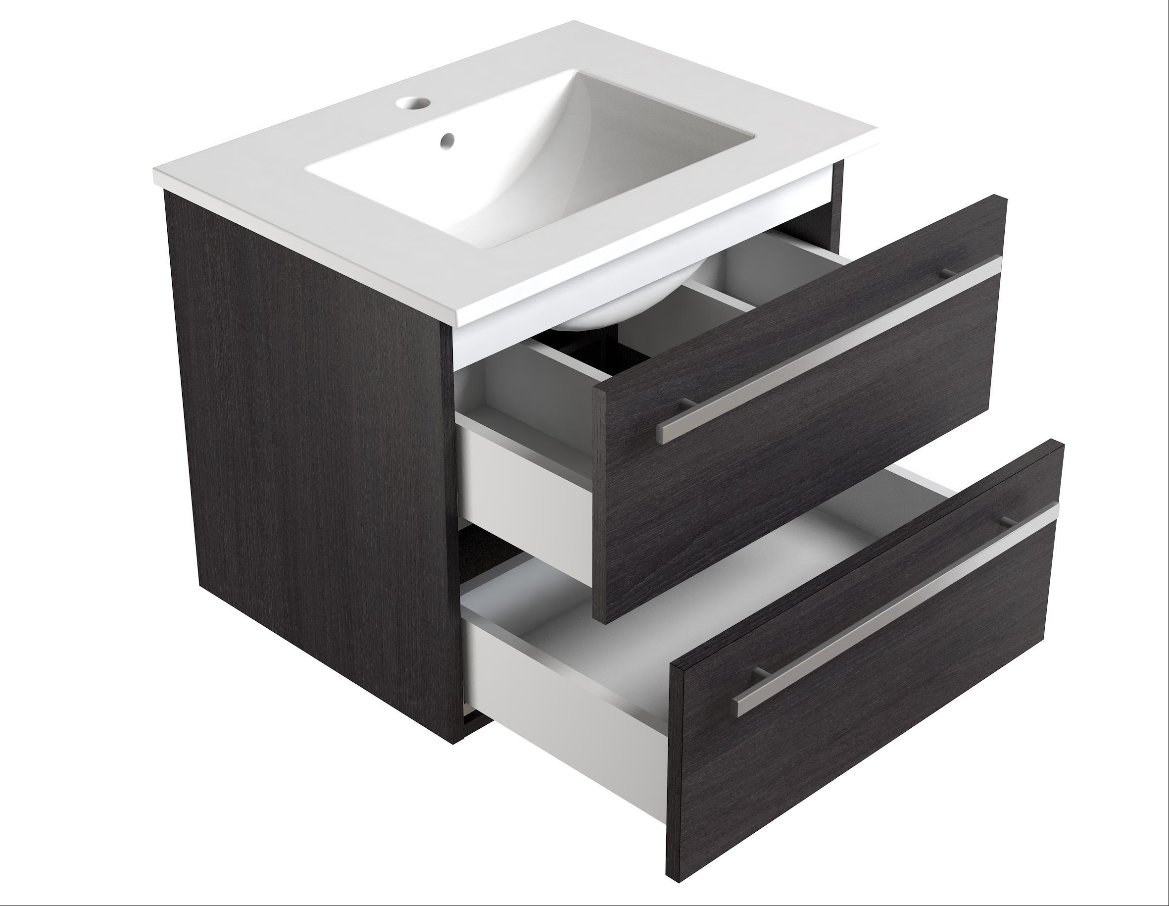 Bad Waschtischunterschrank mit Keramik-Waschtisch Serena 61 Eiche schwarz Bild 3