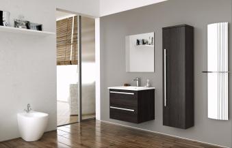 Bad Waschtischunterschrank mit Keramik-Waschtisch Serena 61 Eiche schwarz Bild 4