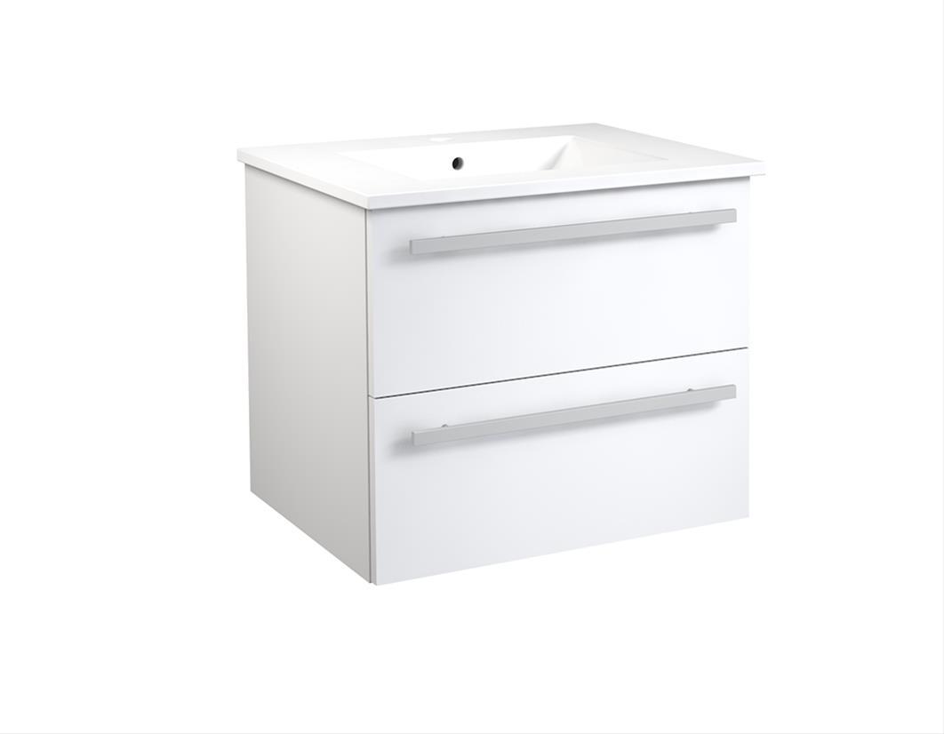 Bad Waschtischunterschrank mit Keramik-Waschtisch Serena 61 Weiß glänzend Bild 1