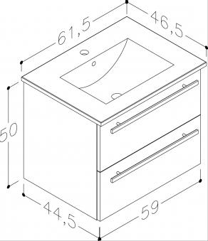 Bad Waschtischunterschrank mit Keramik-Waschtisch Serena 61 Weiß glänzend Bild 2