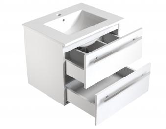 Bad Waschtischunterschrank mit Keramik-Waschtisch Serena 61 Weiß glänzend Bild 3