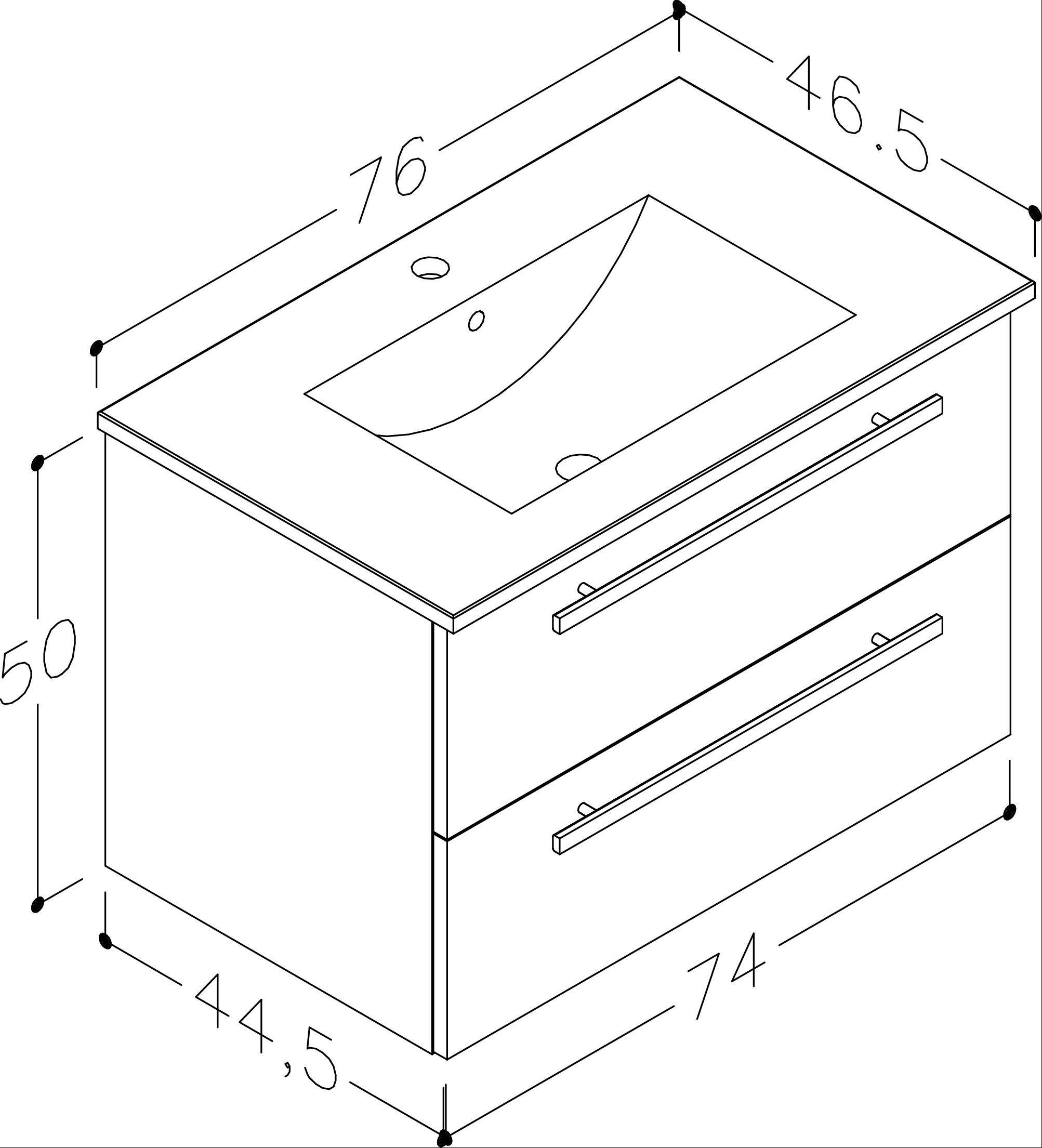 Bad Waschtischunterschrank mit Keramik-Waschtisch Serena 76 Eiche schwarz Bild 2