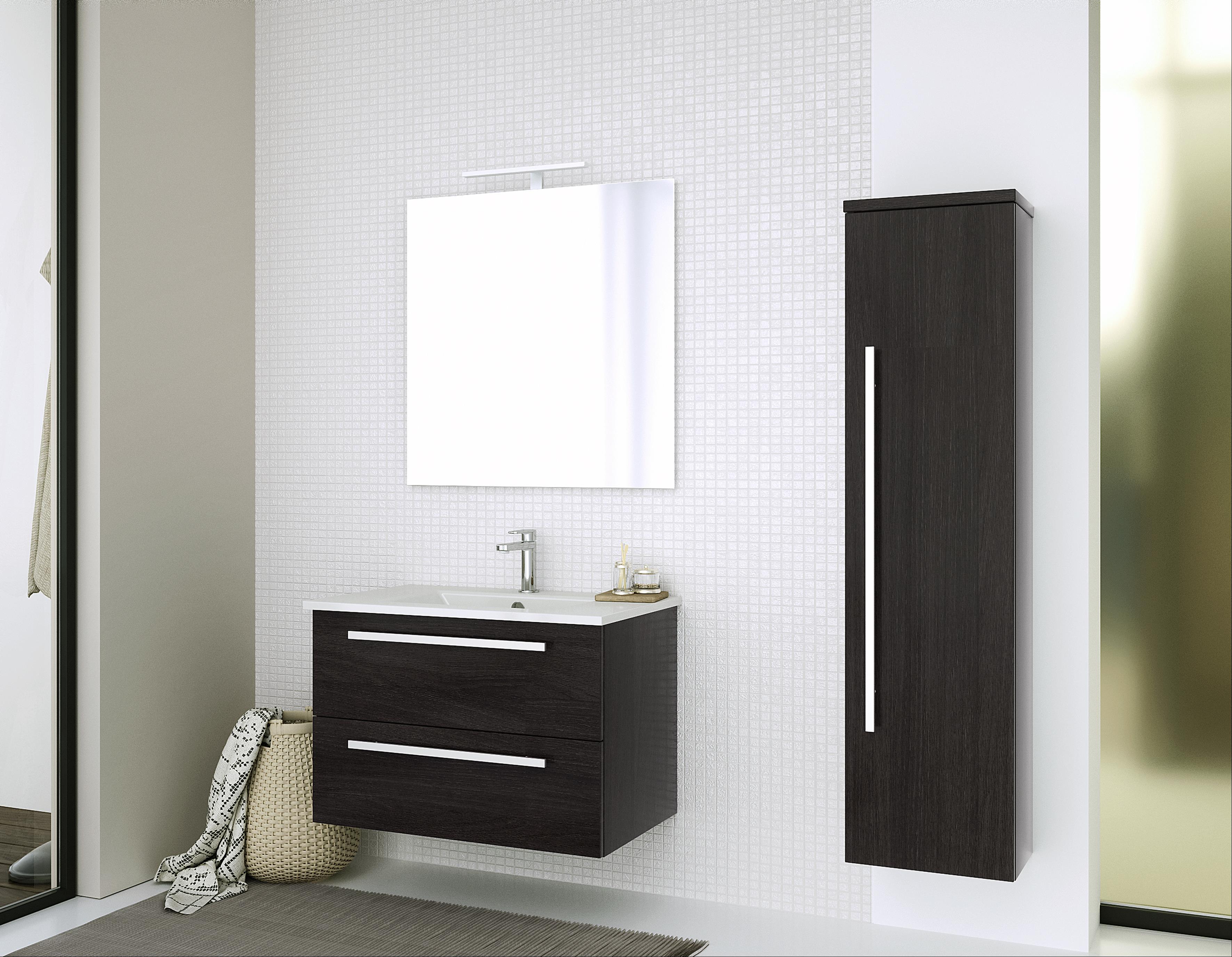 Bad Waschtischunterschrank mit Keramik-Waschtisch Serena 76 Eiche schwarz Bild 4