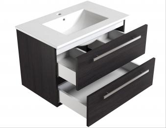 Bad Waschtischunterschrank mit Keramik-Waschtisch Serena 76 Eiche schwarz Bild 3