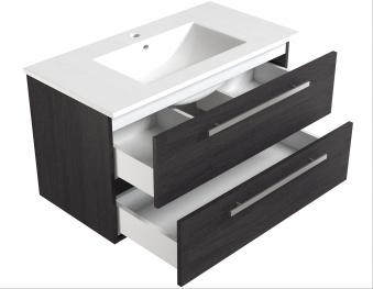 Bad Waschtischunterschrank mit Keramik-Waschtisch Serena 91 Eiche schwarz Bild 3