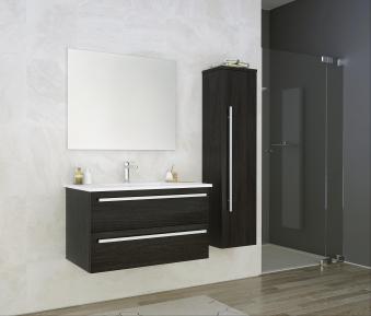 Bad Waschtischunterschrank mit Keramik-Waschtisch Serena 91 Eiche schwarz Bild 4